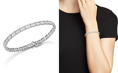 Baguette and Round Diamond Tennis Bracelet in 14K White Gold, 3.25 ct. t.w. - 100% Exclusive - Bloomingdale's_2